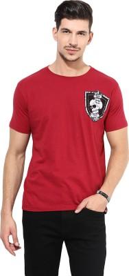PUNK Printed Men,s Round Neck Red T-Shirt