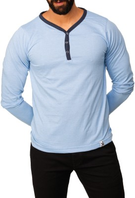 UnKonventional Self Design Men's Henley Blue T-Shirt