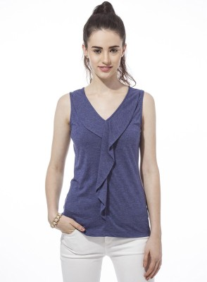 Besiva Solid Women's V-neck Blue T-Shirt
