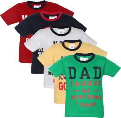 MamaMia Printed Boy's Round Neck Green, Red, Blue, White, Yellow T-Shirt