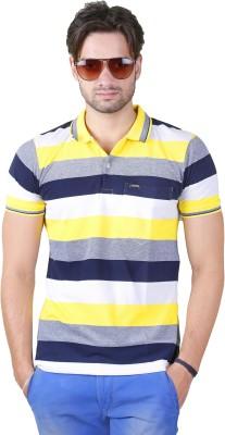 Yellow Dots Striped Men's Polo T-Shirt