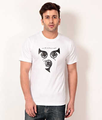 Merlin Printed Men's Round Neck White T-Shirt