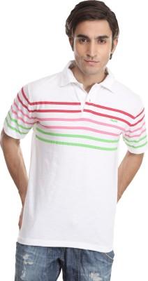 Skatti Striped Men,s Polo Neck White T-Shirt