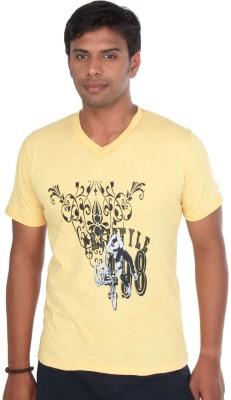 John Caballo Printed Men's V-neck Yellow T-Shirt