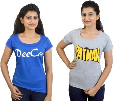 EEIA Printed Women's Round Neck Blue, Grey T-Shirt