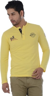Lawman Solid Men's Henley Yellow T-Shirt