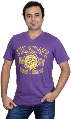 Jonny Blaze Graphic Print Men's V-neck Purple T-Shirt