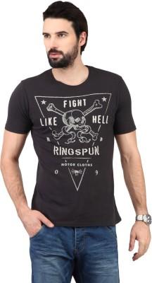 Ringspun Graphic Print Men's Round Neck Black T-Shirt
