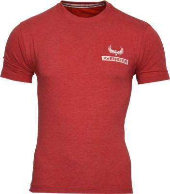 Avenster Solid Men's Round Neck Red T-Shirt