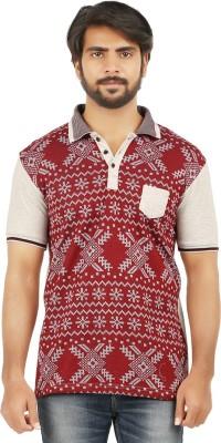 curviva Geometric Print Men's Polo Neck Grey T-Shirt