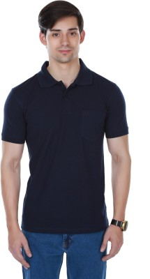 Cotton County Premium Solid Men's Flap Collar Neck Blue T-Shirt