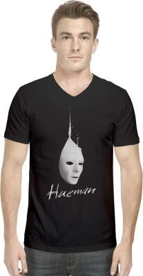 Hueman Printed Men's V-neck Black T-Shirt