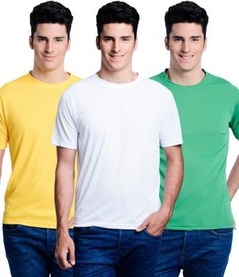 Superjoy Solid Men's Round Neck Yellow, Green, White T-Shirt