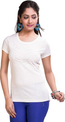 TVENO Printed Women's Round Neck White T-Shirt