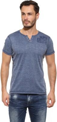 Pepe Solid Men's Henley Blue T-Shirt