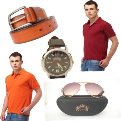 Tele Queen Solid Men's Polo Neck Multicolor T-Shirt