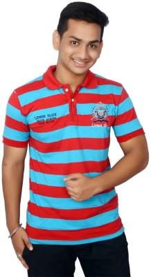 Lemon Slice Striped Men's Polo Neck Red, Light Blue T-Shirt