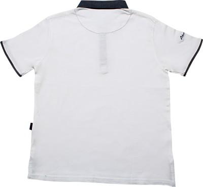 Blue Giraffe Solid Boy's Polo Neck White T-Shirt