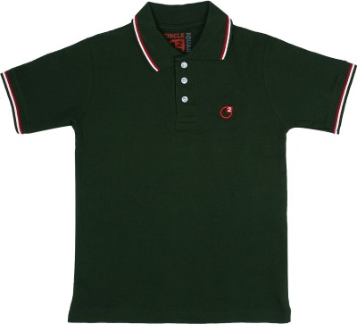 Circle Square Solid Boy's Polo Green T-Shirt