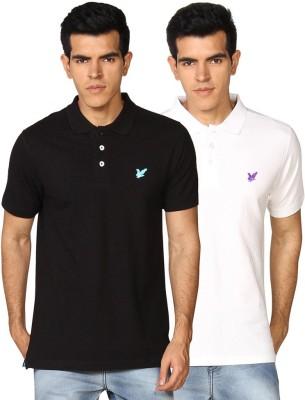 Provogue Solid Men's Polo Neck Black, White T-Shirt