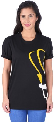 Johnny Bravo Graphic Print Women's Round Neck Black T-Shirt