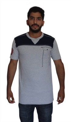 Uniqe Solid Men's V-neck Grey T-Shirt