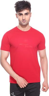 Sport Sun Solid Men's Round Neck Red T-Shirt