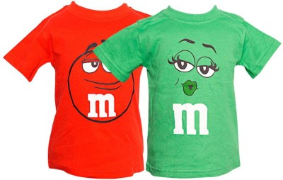 Parv Collections Printed Baby Girl,s Round Neck Red, Green T-Shirt