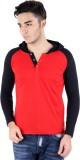 Bigidea Solid Men's Hooded Red, Black T-...