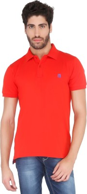Floe Solid Men's Polo Neck Red T-Shirt