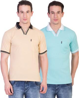 Ruby Wears Solid Men's Polo Beige, Blue T-Shirt
