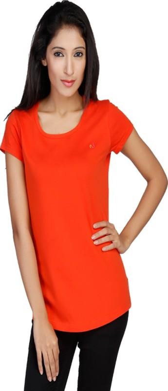 New Darling Solid Women's Round Neck Orange T-Shirt