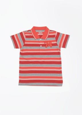 People Striped Boy's Polo Grey, Orange, Red T-Shirt
