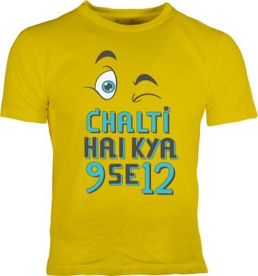 Oneliner Printed Men's Round Neck Yellow T-Shirt