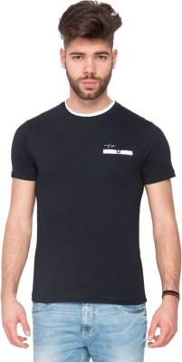 Mufti Solid Men's Round Neck Dark Blue T-Shirt