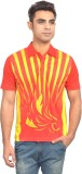 Set Printed Men's Polo Neck Orange, Yell...
