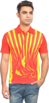 Set Printed Men's Polo Neck Orange, Yellow T-Shirt