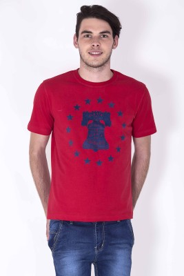 Sera Printed Men,s Round Neck Red T-Shirt