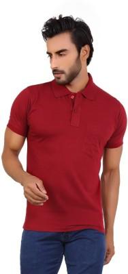 Awack Solid Men's Polo Neck Maroon T-Shirt
