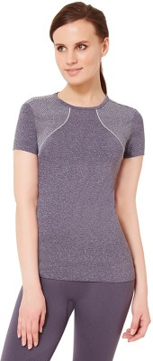 Amante Sports Short Sleeve Solid Women's Grey Top