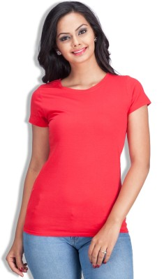 Colsa Solid Women's Round Neck Red T-Shirt