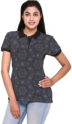 Colors & Blends Printed Women's Polo Neck Black T-Shirt