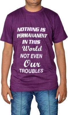 Revinfashions Solid Men's Round Neck Reversible Purple T-Shirt