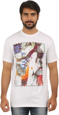 curviva Printed Men's Round Neck White T-Shirt