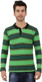 Nick & Jess Striped Men's Polo Neck Gree...