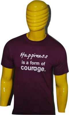 Kavin Printed Men's Round Neck Purple T-Shirt