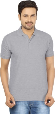 Forever19 Solid Men's Polo Neck Grey T-Shirt