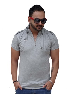 Black Collection Solid Men's Flap Collar Neck Grey T-Shirt
