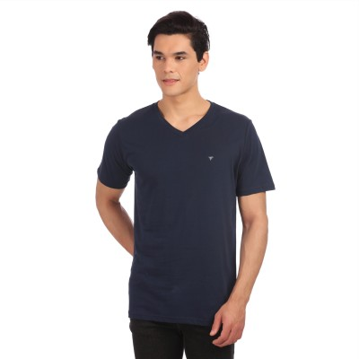Neva Solid Men's V-neck Dark Blue T-Shirt