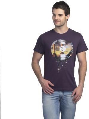 Pink Floyd Printed Men's Round Neck Purple T-Shirt